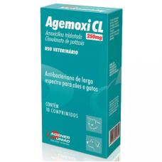 Agemoxi CL 250mg Antibiótico 10 comprimidos Cães e Gatos Agener União